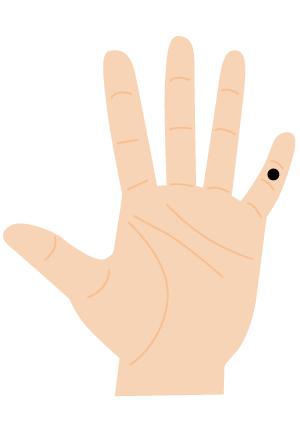 ほくろ占い【手の指:小指(第ニ関節)】正直者タイプ