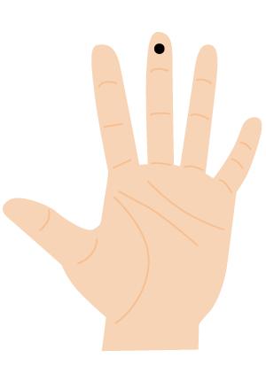 ほくろ占い【手の指:中指(第一関節)】短気なタイプ